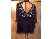 Monsoon top with embroidered detail, size 10