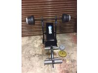 Weight training bench and weights