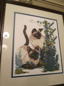 "14"" X 15"" PROFESSIONALLY FRAMED CROSS-STITCH OF SIAMESE CATS London Ontario image 1"