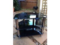 TV Stand Chrome Tinted Glass