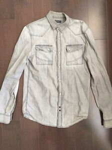 Zara mens grey denim shirt size small