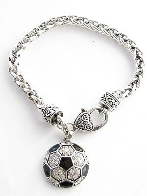 Soccer Ball Black Enamel Clear Crystal Silver Bracelet Jewelry Gift Futball - Soccer Bracelet