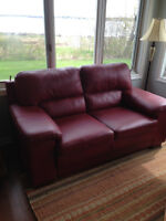 Red leather love seat and chair
