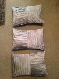 3 Pleated Silk Texture Cushions