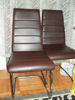 CB2 modern leatherette & chrome dining chairs