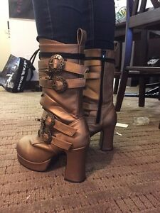 Gold Steampunk boots size 10