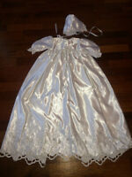 GORGEOUS LONG SATIN CHRISTENING/BAPTISM GOWN WITH BONNET