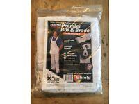 """Men's SHIELD OVERALLS LTD White Decorators Bib & Brace Size: 36"""" Waist *NEW*"""