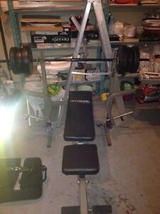Bench press set and weights one dumbells handle aswell