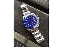 Rolex blue submariner automatic watch