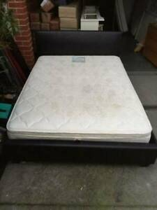 nice black leather queen size bed frame with mattress,