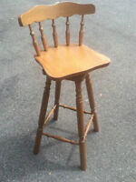 Solid Oak Swivel Seat Bar Stools for Sale
