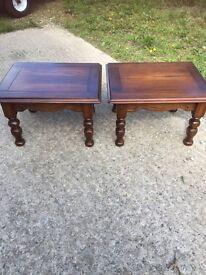 Dark oak pair of side tables