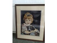 Picture girl with dog cross stitch
