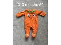 Halloween babygrow 0-3 months