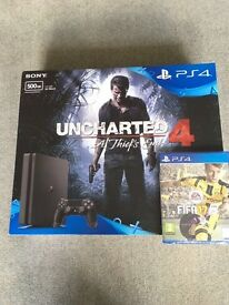 Brand new unopened Ps4 slim 500mb with uncharted 4 and FIFA 17