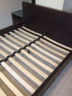 Fantastic furnitured Modern chocolate color queen side bed frame Box Hill Whitehorse Area Preview