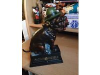 "Bulldog ""Ole Puffer"" Cast-Iron Reproduction Book of Knowledge.""Bank"