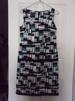 NEW Emerald Green, Black, White Geometric Sheath Dress - Size 6