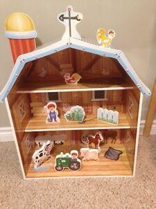 Solid wood toy farm