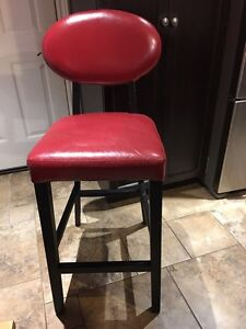 4 Espresso and real red pub/bar chairs/stools