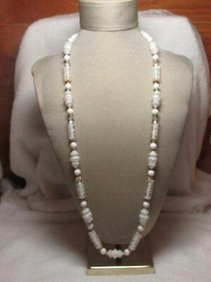 Vintage White And Clear Textured Plastic Bead  Gold Tone Necklace