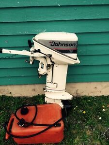 Early 80's Johnson 15hp Outboard and tank with or without boat