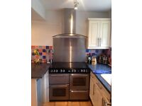 100cm belling gas country range cooker double oven hob & extractor hood & splashback