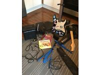 Children's and adults guitar kit stand books and amps
