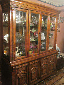 Dining Room Hutch/Display Cabinet with Dark Oak Finish