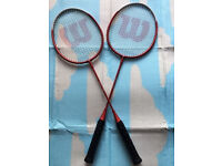 Two Wilson badminton rackets, immaculate, take both at only £25, iv got other rackets too for sale