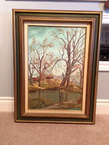 Farm Rocky Saugeen River Oil Painting