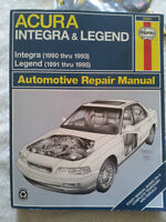Acura integra 90-93 & legend 91-95 hanes repair manual