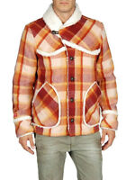 DIESEL Mens Worace Faux Shearling Lined Plaid Jacket | Coat  XL