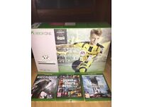 Xbox one slim with 4 games and turtle headset bundle