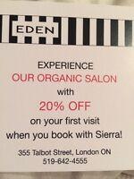 20% off Eden Organic Salon services