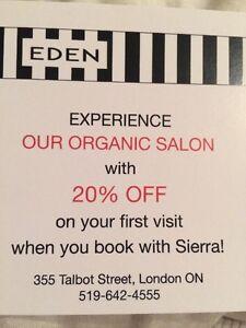 20% off Eden Organic Salon services London Ontario image 2