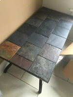 Three Metal and Stone Tile Coffee Tables