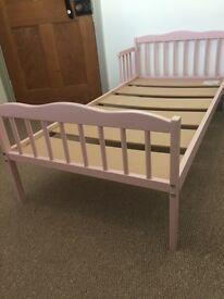 Saplings Wooden Junior Bed Pink inc Mattress