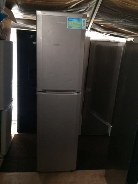 Silver BEKO frost free H 200cm W 55cm fridge freezer good condition with guarantee bargain