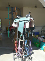 western saddle and halters