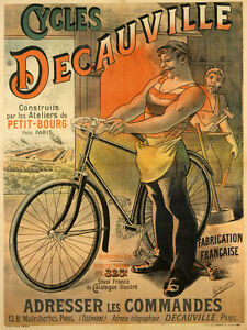 DECAUVILLE-Cycles-French-Bicycle-Bike-Paris-Fine-Vintage-Poster-Repro-FREE-S-H