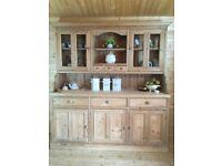 Farmhouse rustic solid pine Welsh dresser cupboard display cabinet sideboard