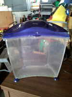 small fish tank, curved front, with light