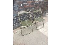 Industrial Folding Metal Dining Chairs. Vintage