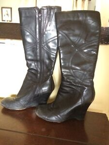 Aldo Leather wedge knee high boots