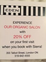 20% off organic hair services!