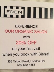 20% off organic hair services! London Ontario image 1