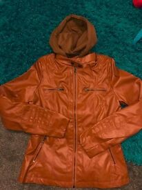 Brown leather look style coat with material hood brand new