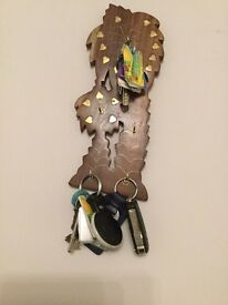 Wooden Key Holder with Gold Pattern